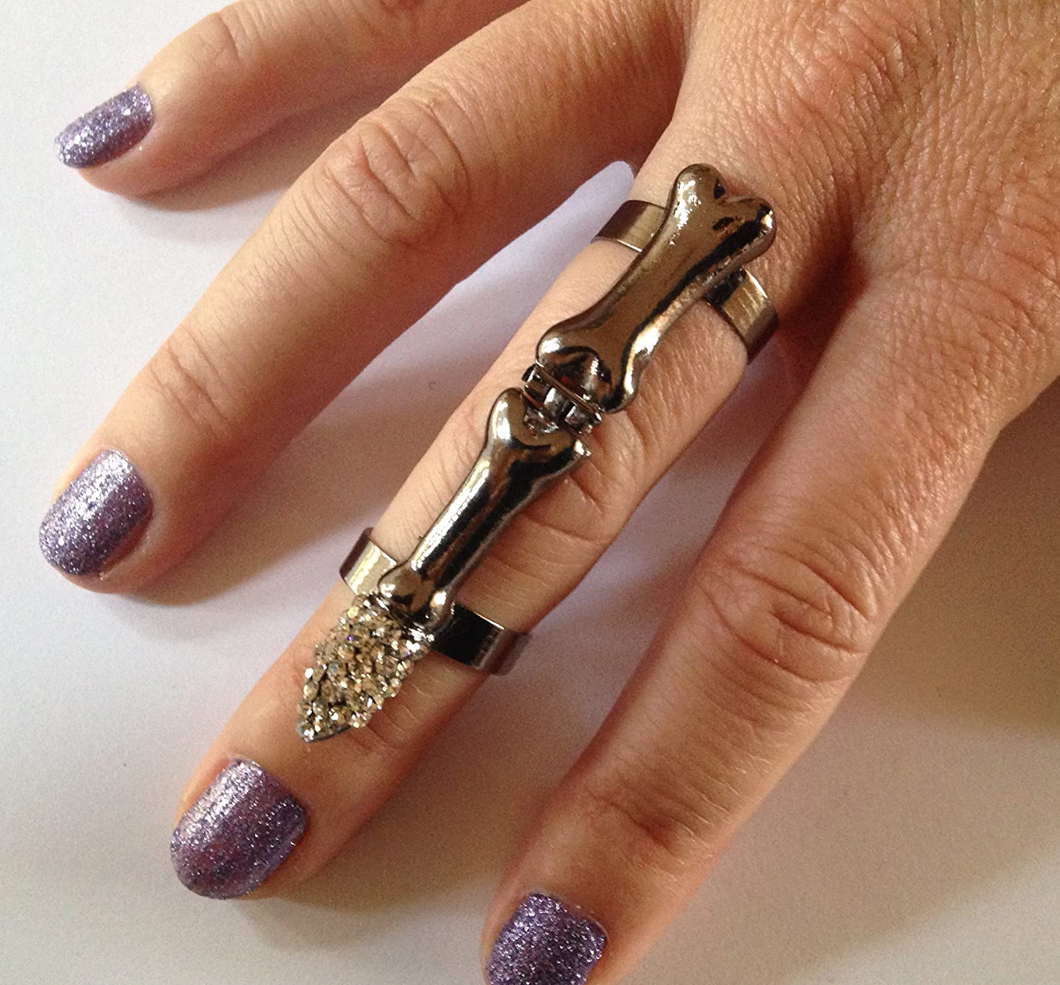 Grufti Punk Rock Skelett Ganzer Finger Diamant Nagel- Knuckle-Ring ...