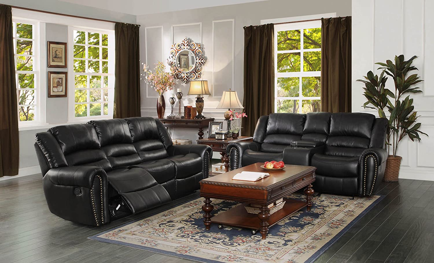 Amazon homelegance 9668blk 3 double reclining sofa black amazon homelegance 9668blk 3 double reclining sofa black bonded leather kitchen dining geotapseo Image collections