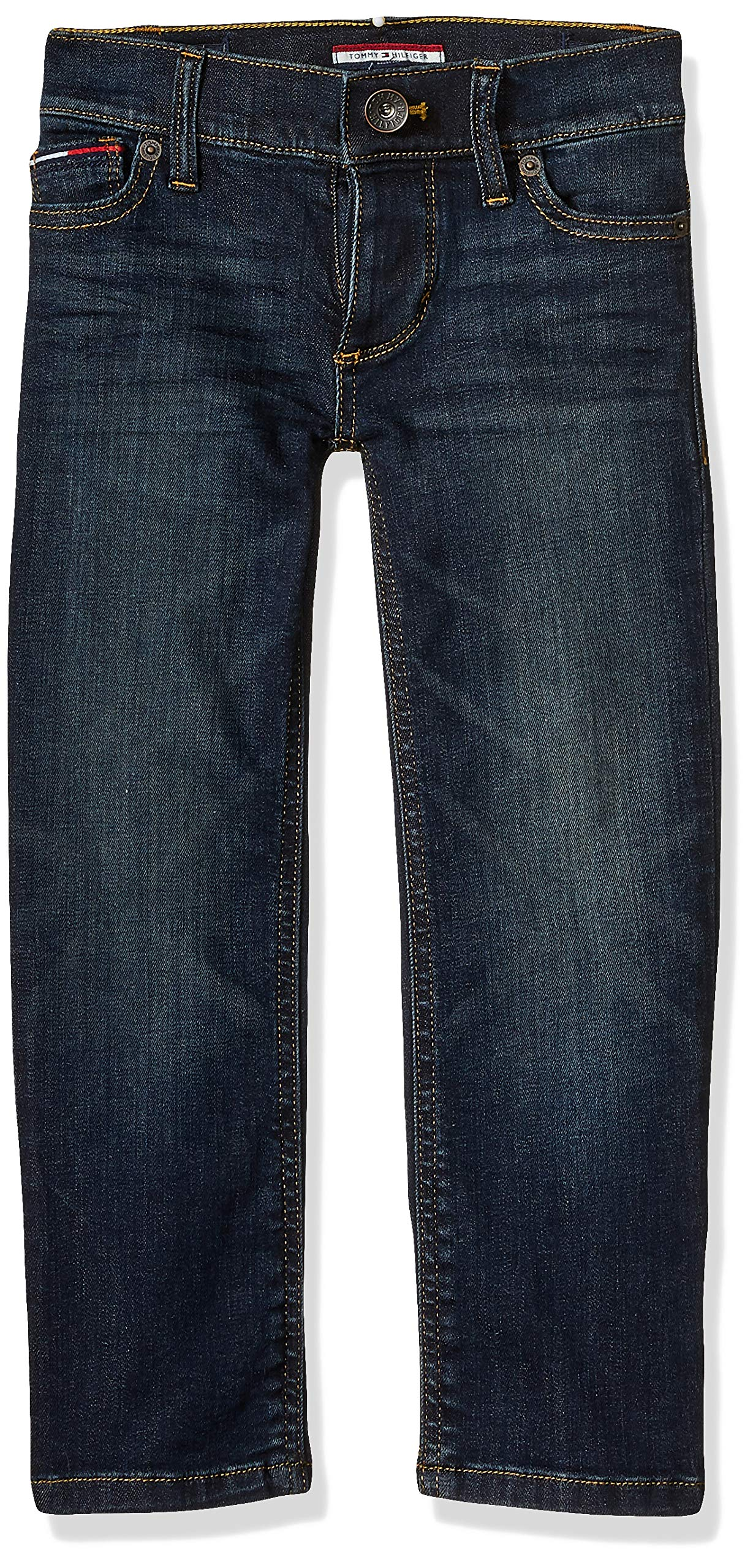 Tommy Hilfiger Boys' Adaptive Jeans Relaxed Fit with Adjustable Waist and Magnetic Buttons, auburn Wash 12