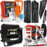 LIVABIT Survival Emergency Bundle Set - Paracord Tanto Knife + Venom Extractor + T1K Flashlight + SOS Kit for Hikers Preppers Survivalist