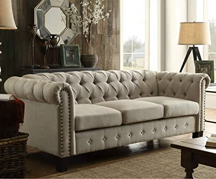Amazoncom Dg Casa 6000 3s Bge Southampton Tufted Living Room