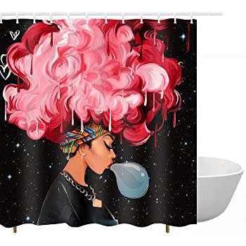Black Women Blow Bubbles With Red Hair Afro Hairstyle Watercolor Portrait Picture Print Waterproof Mildew Resistant Fabric Polyester Shower Curtain