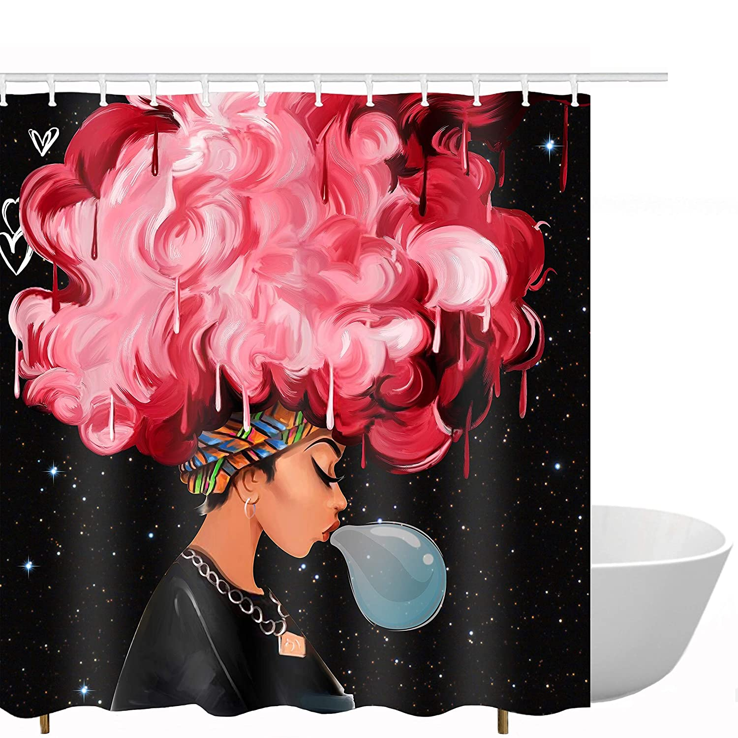 Get Orange Traditional African Black Women Blow Bubbles with Red Hair Afro Hairstyle Watercolor Portrait Picture Print Waterproof Mildew Resistant Fabric Polyester Shower Curtain 72X72 inch