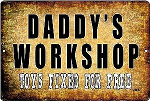 Rogue River Tactical Funny Dad Repair Shop Metal Tin Sign Wall Decor Garage Man Cave Daddy's Workshop