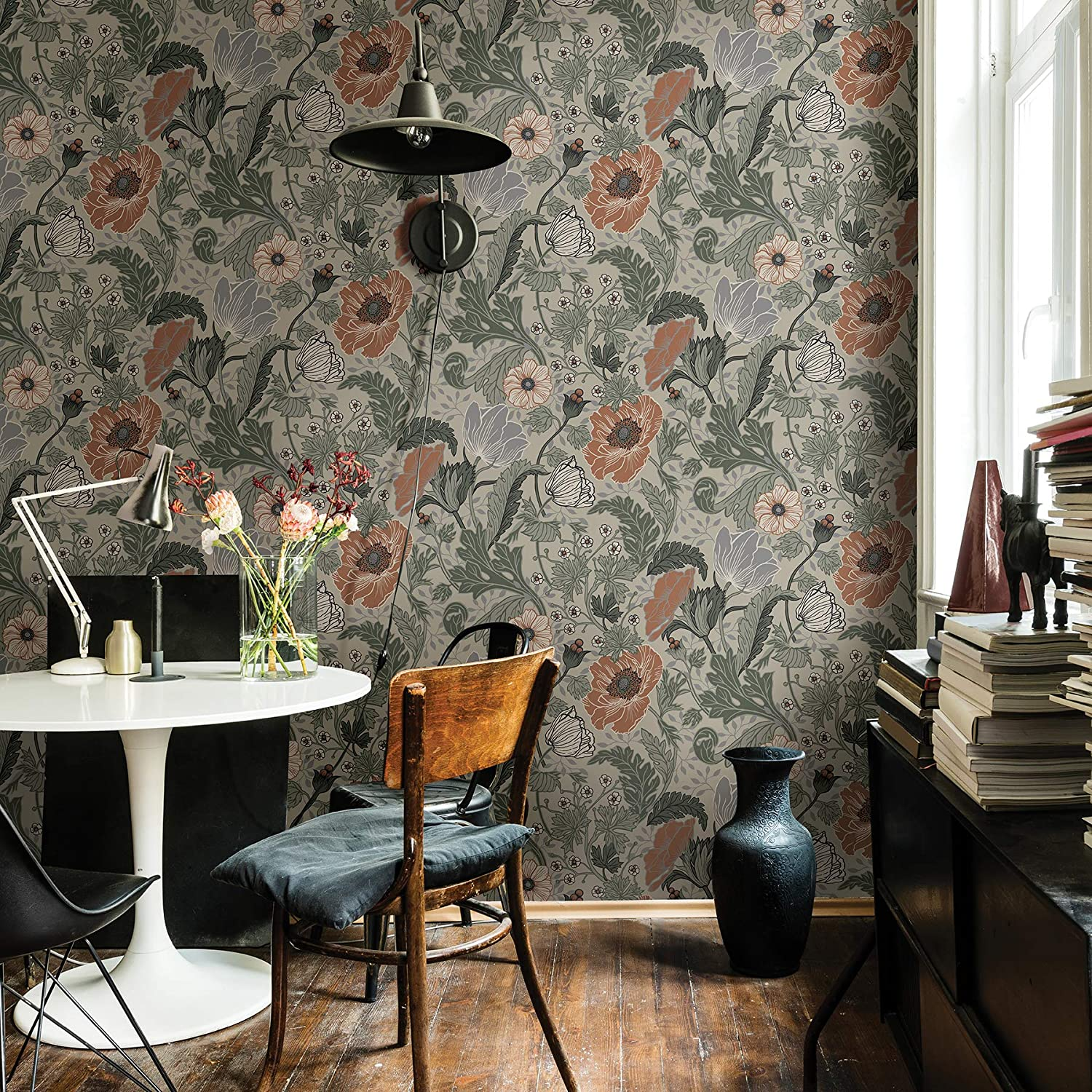 Shop A-Street Prints 2948-33001 Anemone Floral Wallpaper, 20.5in by 33ft, Grey from Amazon on Openhaus
