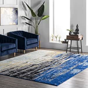 Illusion Abstract Blocks Wool Rugs Blue Ochre Hand Carved Modern Design Rug