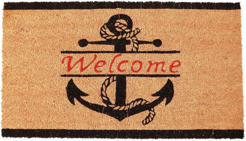 Nautical Anchor Welcome Mat for Front Door, Natural Coir Doormat (30 x 17 in)