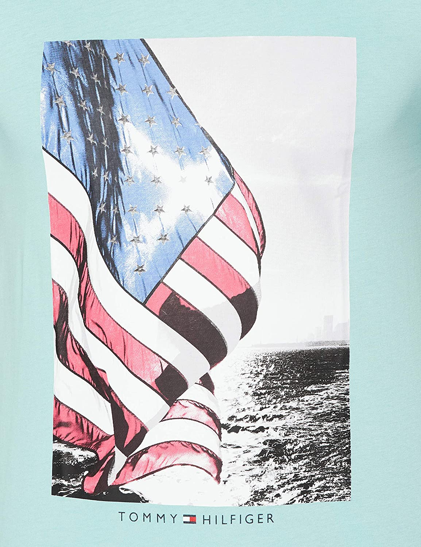 Tommy Hilfiger Mens Flag Photo Print Tee Sport Shirt