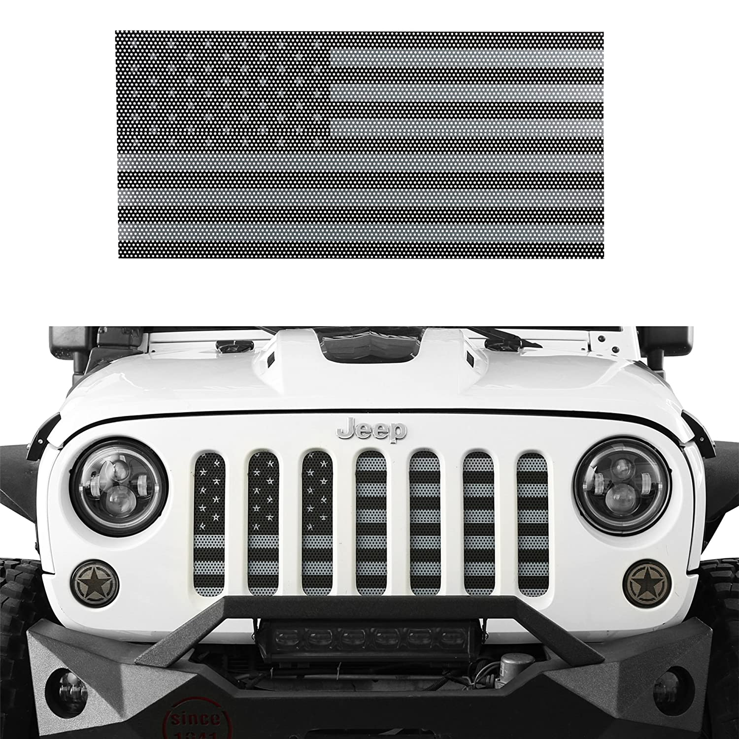 u-Box America US Flag Front Grille Insert Mesh Grill for 2007-2018 Jeep JK /& Wrangler Unlimited