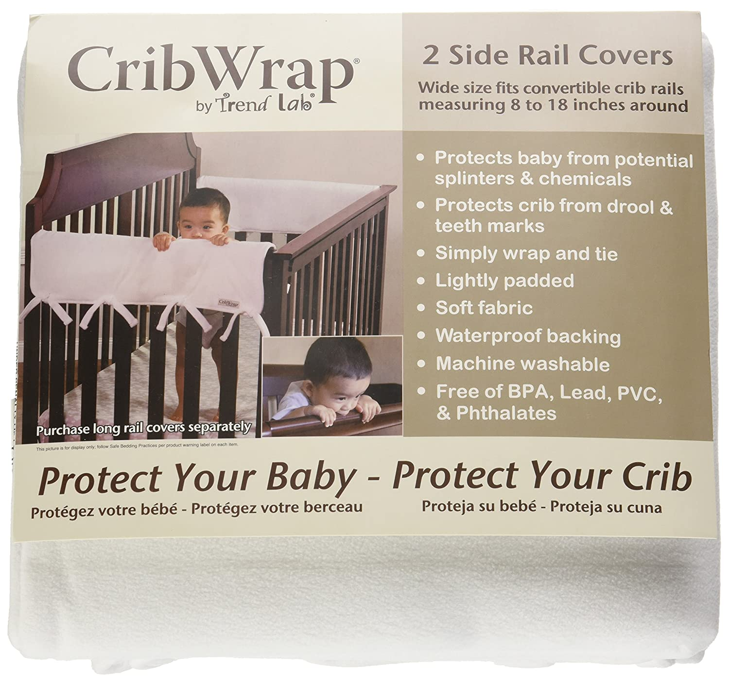 2PK 109055 Trend Lab Waterproof CribWrap Rail Cover For Wide Side Crib Rails Made to Fit Rails up to 18 Around