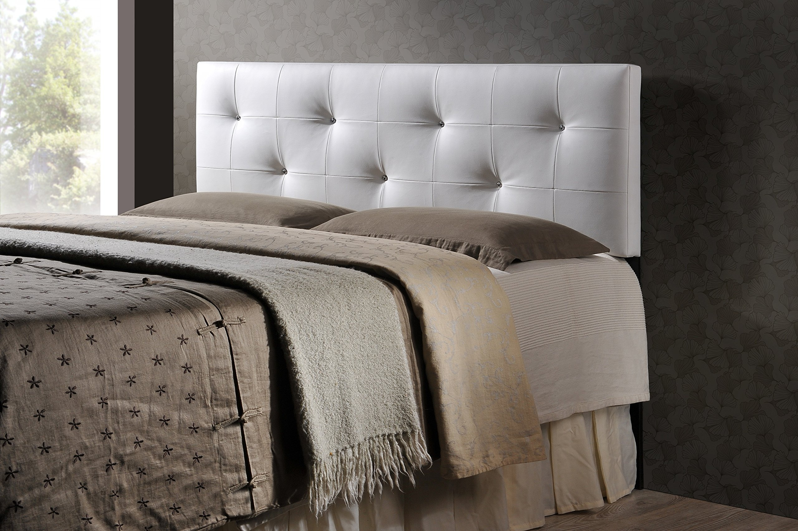 Baxton Studio Wholesale Interiors Dalini Modern and Contemporary Faux Leather Headboard with Faux Crystal Buttons, King, White