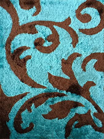 turquoise area rug amazon shaggy viscose hand tufted rectangular with shades of brown size 5x7 6x9