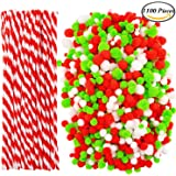 Coobey 1000 Pieces Christmas Pompoms Assorted Size and Color Pom Poms with 100 Pieces Striped Chenille Stems Pipe Cleaners for Craft Supplies (Christmas Color)