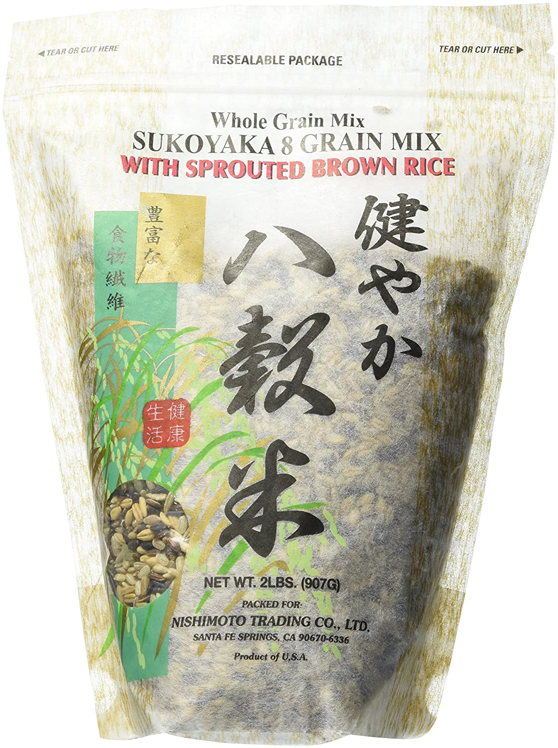 Nishimoto Trading Co , Sukoyaka 8 Grain Mix with Sprouted Brown Rice, 2 lb