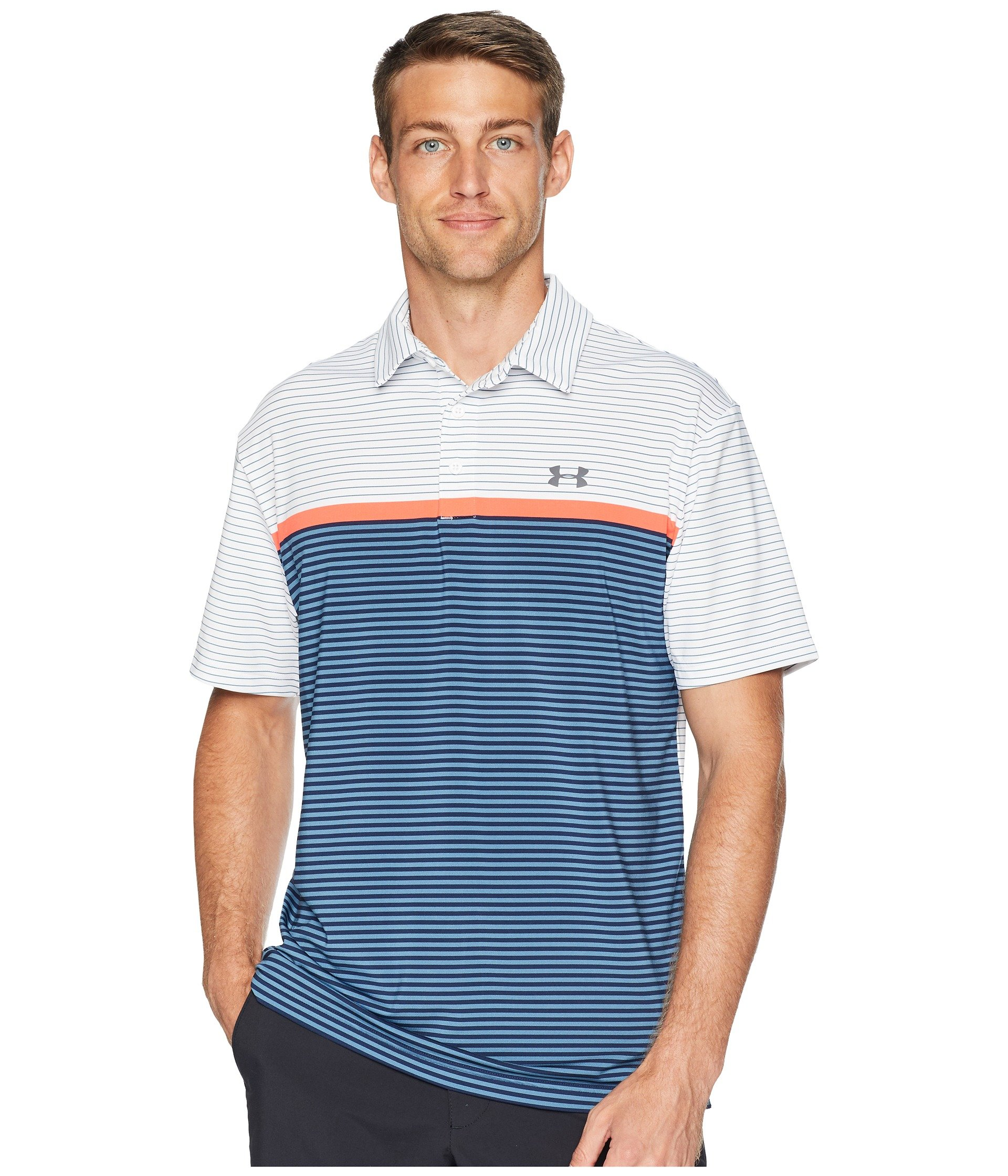 Under Armour Men's Playoff Polo, White (124)/Rhino Gray, X-Small by Under Armour (Image #1)