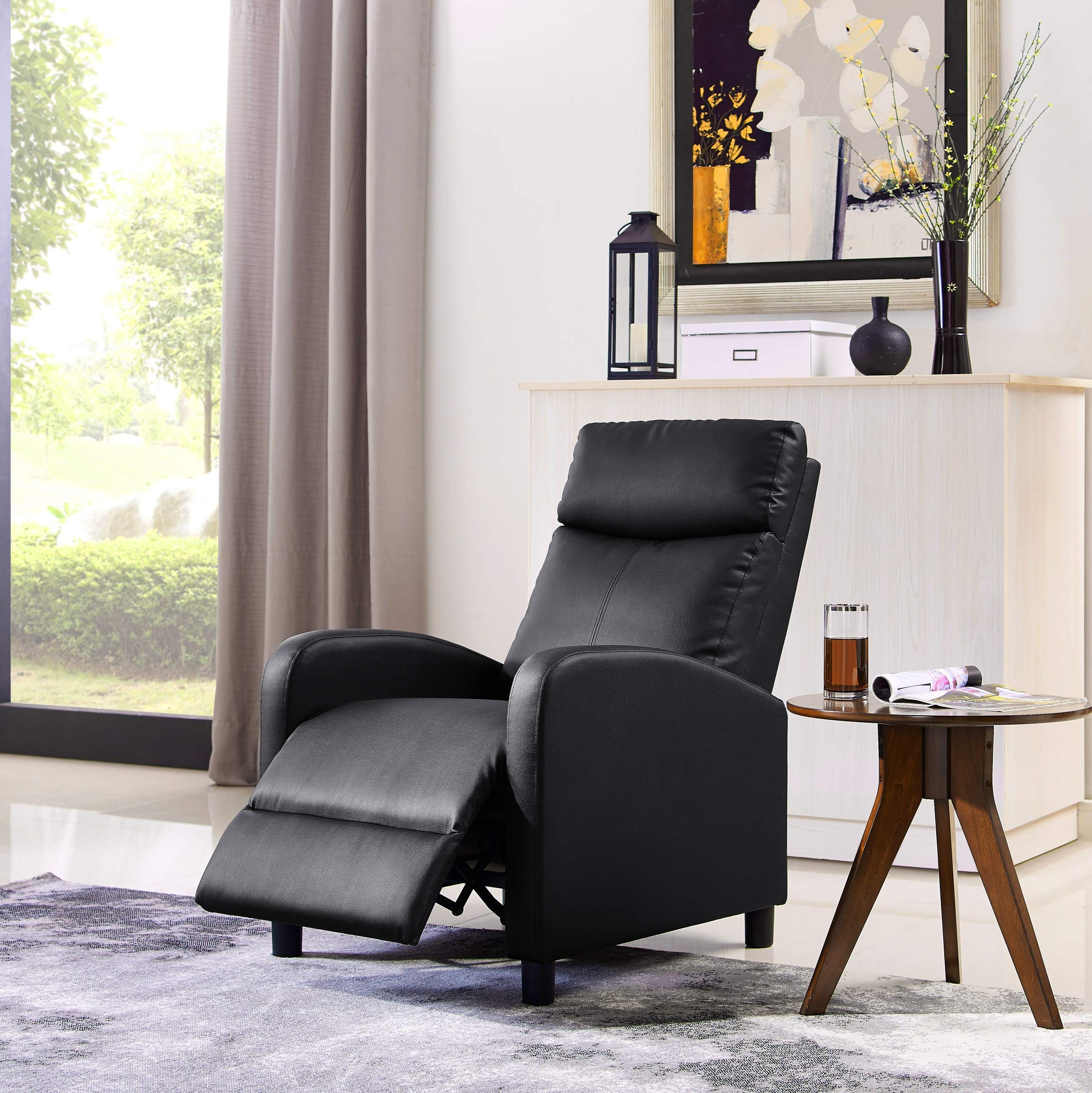 Single Recliner Chair Padded Seat PU Leather Living Room Sofa Recliner Modern Recliner Seat Club Chair Home Theater Seating (Black) by LifeDecor