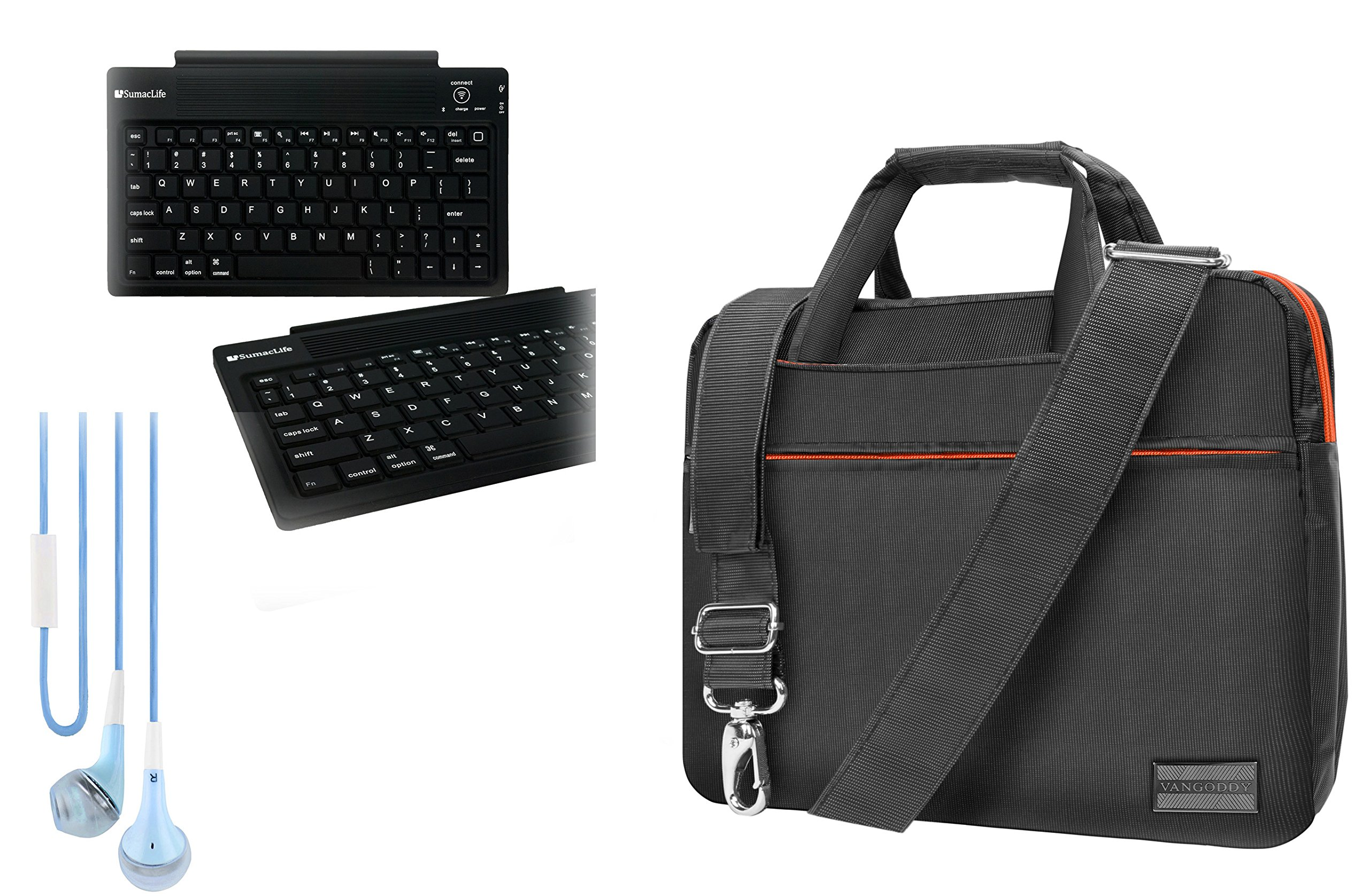 Orange HP 10'' ProBook / Pavilion / Stream / EliteBook BlueTooth Keyboard, Shoulder Bag, headphone