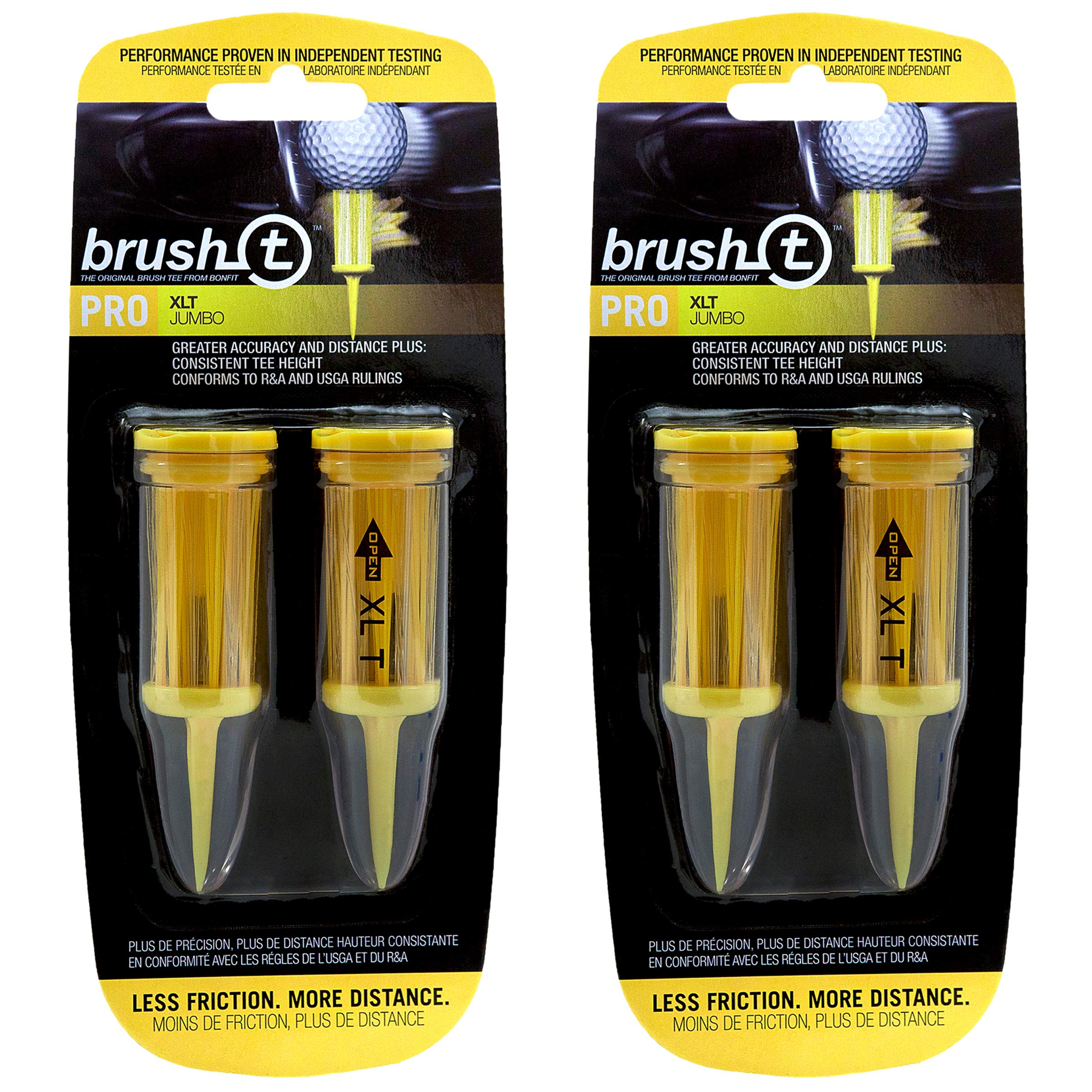 Brush T Extreme 3 1/8'' Golf Tees - Yellow - 2 Packs of 2 - (11904) by Brush T