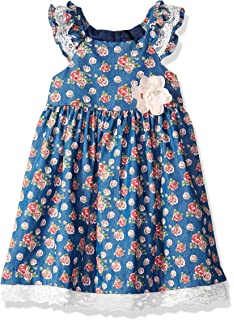 10dc2c5794ae Amazon.com  Bonnie Jean Girls  Chambray Dress with Embroidered Hem ...