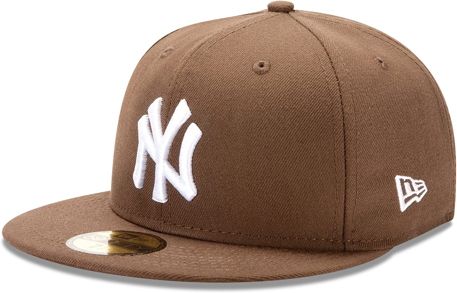 NEW ERA NEW YORK YANKEES FITTED HAT BASEBALL CAP 59FIFTY WHITE BROWN SZ 7-8
