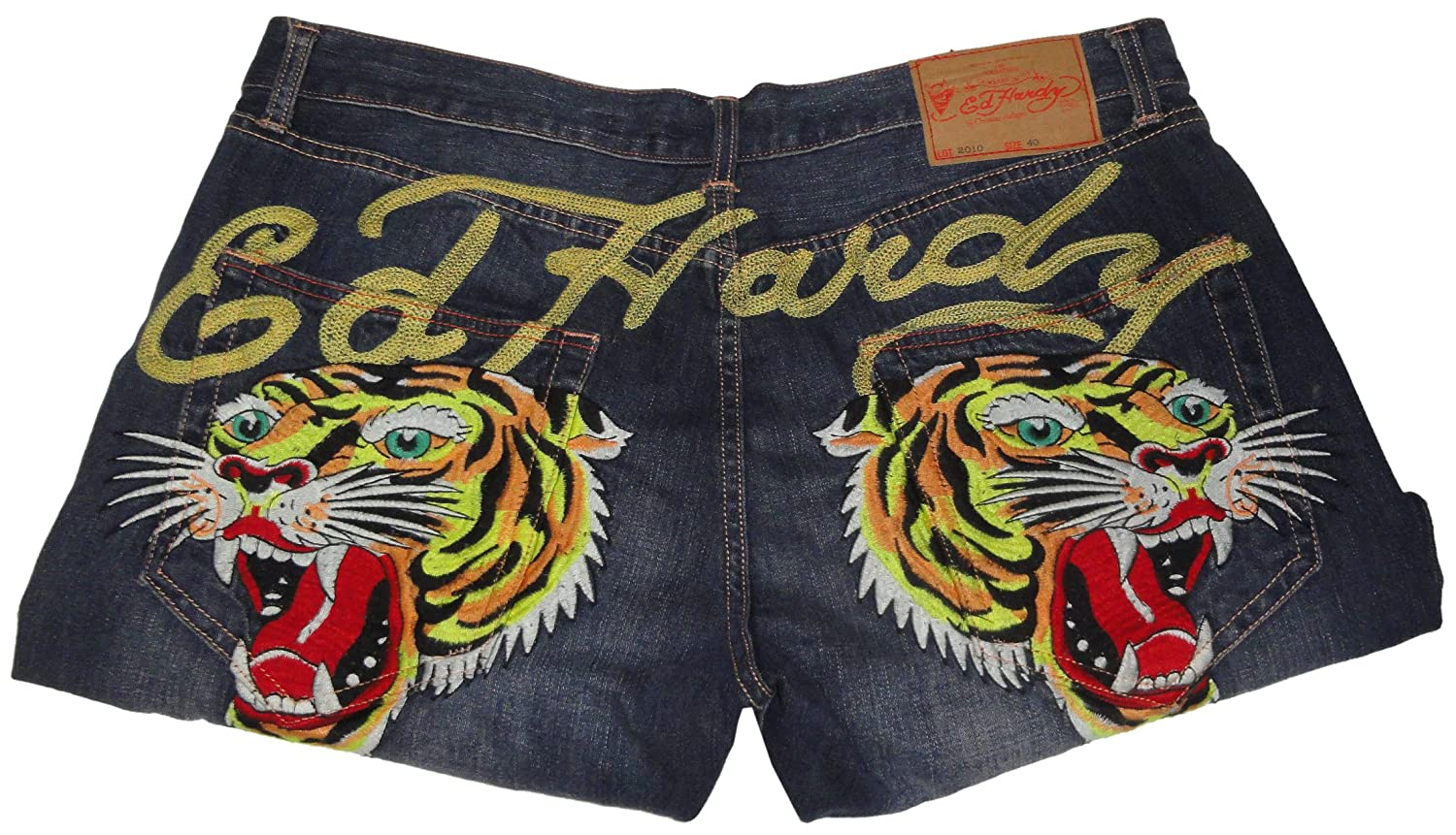 Ed Hardy Mens Mcqueen Tiger Boxing Jeans Size 40X32 Blue Denim