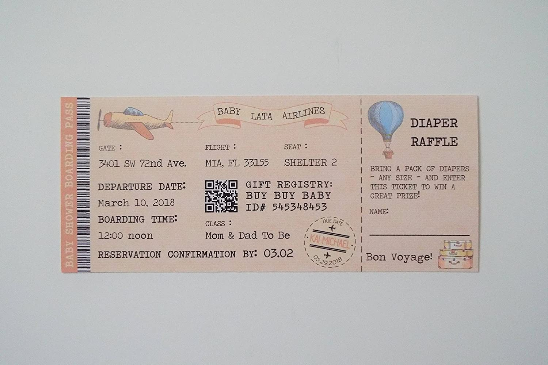 Amazon Com Baby Shower Ticket Invitation Boarding Pass Ticket
