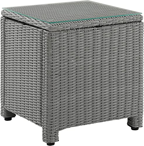 Crosley Furniture CO7219-GY Bradenton Outdoor Wicker Tempered Glass Top Side Table