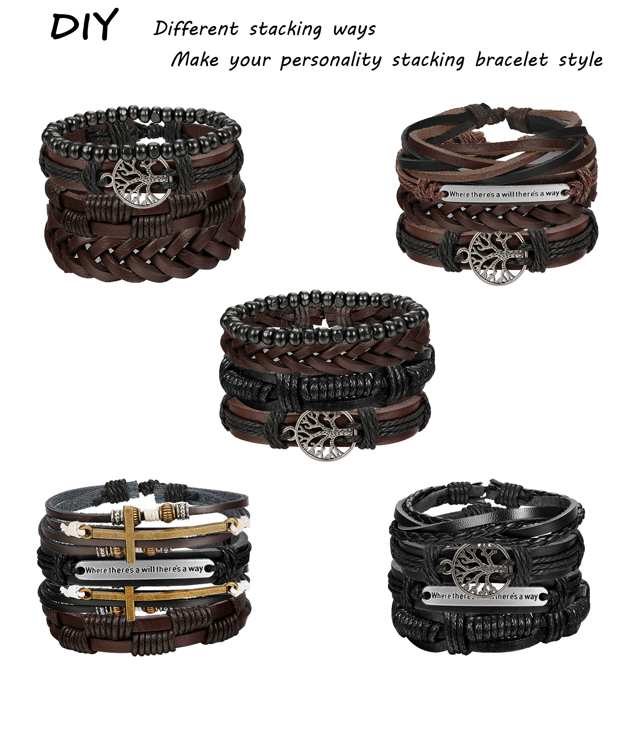 Milacolato 12Pcs Bracelets for Men Braided Leather Multilayer Wooden Beaded Cross Bracelet Leaf Wrist Cuff Wristband Adjustable by Milacolato (Image #3)