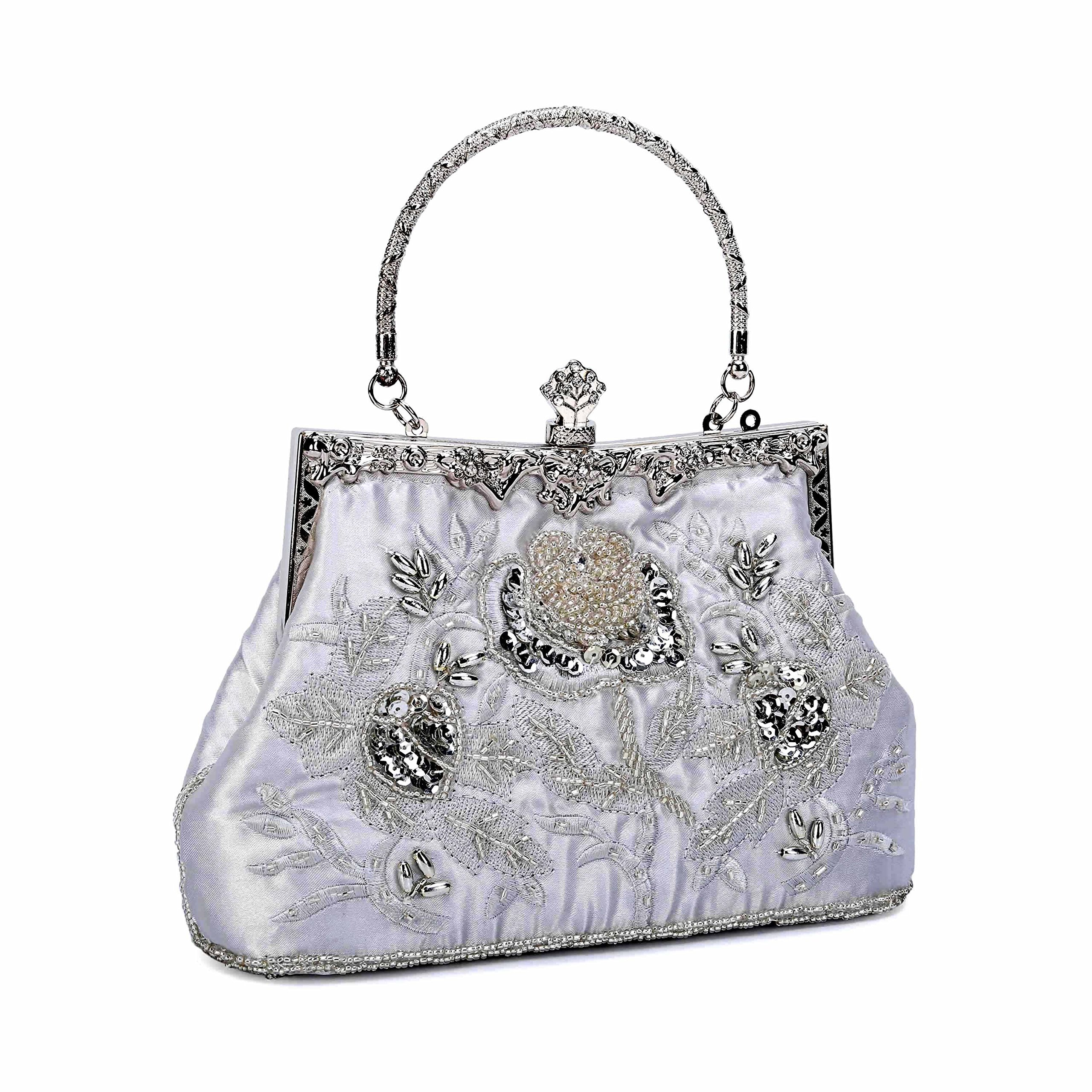 Asien Women's Vintage Style Roses Embroidered Beaded Sequin Evening Bags Wedding Party Clutch Purse (Silver)