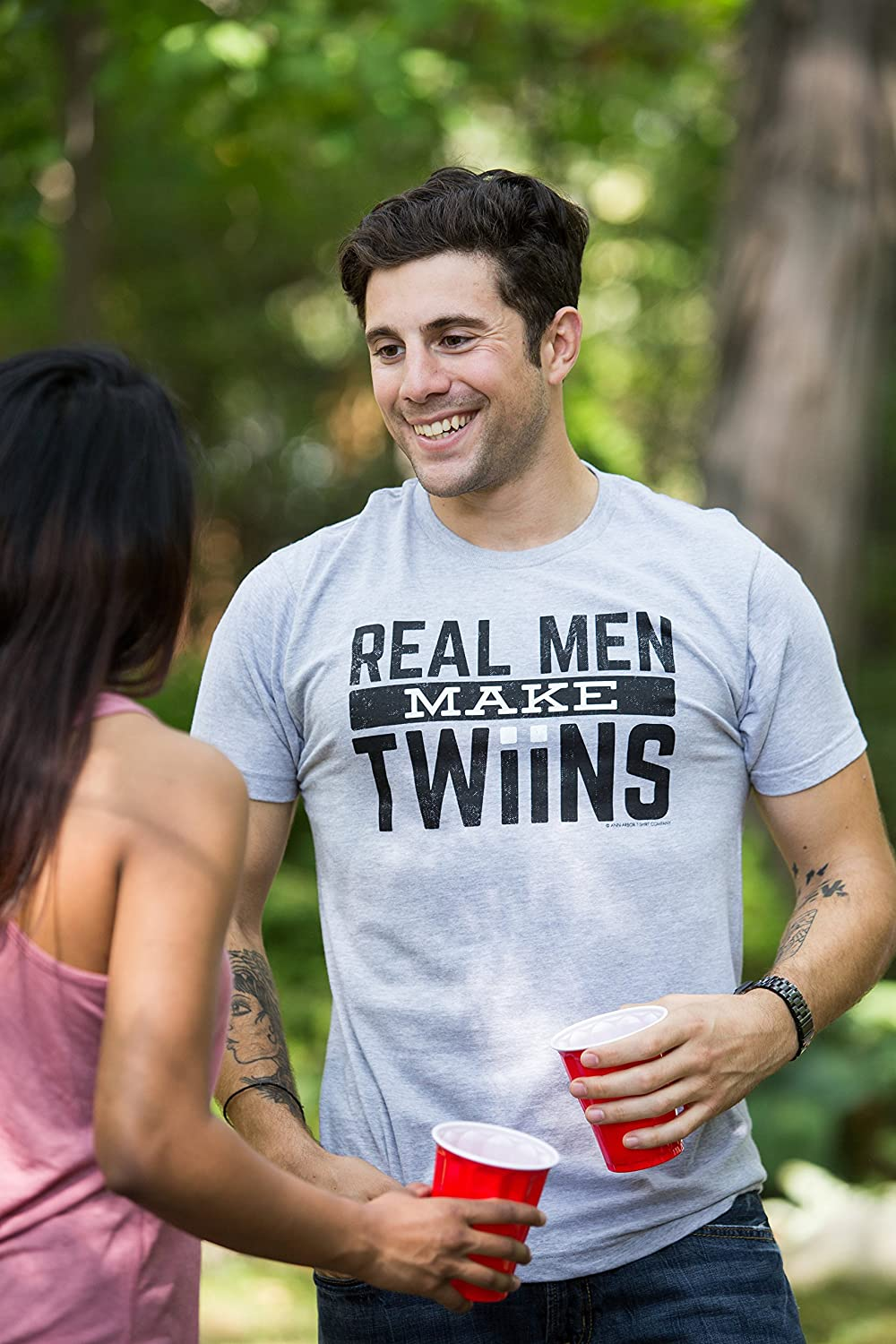 Funny New Dad Fathers Day Real Men Make Twins Daddy Humor Unisex T-Shirt Sport Grey