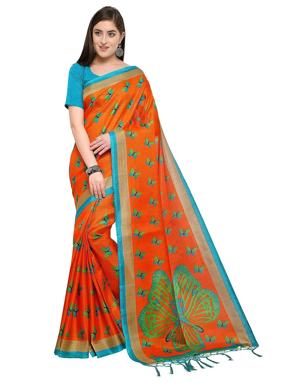 27678664ef Kimisha Women's Khadi Silk Kalamkari Printed Saree (Orange_Free_Size):  Amazon.in: Clothing & Accessories