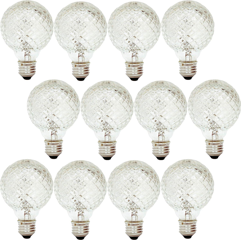 GE Lighting 16774 40-Watt Halogen Faceted G25 Vanity Light Bulb (12 Pack)