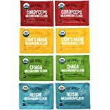 Four Sigmatic Mushroom Elixir Sampler Pack – Lion's Mane, Chaga, Reishi, and Cordyceps – 8 Count -2 Packets of Each Mix – USD