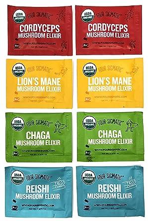 Four Sigmatic Mushroom Elixir Sampler Pack – Lion's Mane, Chaga, Reishi, and Cordyceps – 8 Count -2 Packets of Each Mix – USDA Organic, Vegan, Paleo