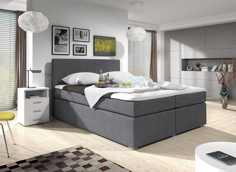Wunderschön Boxspringbett Grau 160x200 Sammlung Von Wohnen- Mit Bettkasten Stoff Hotelbett Roma: Concept.de: