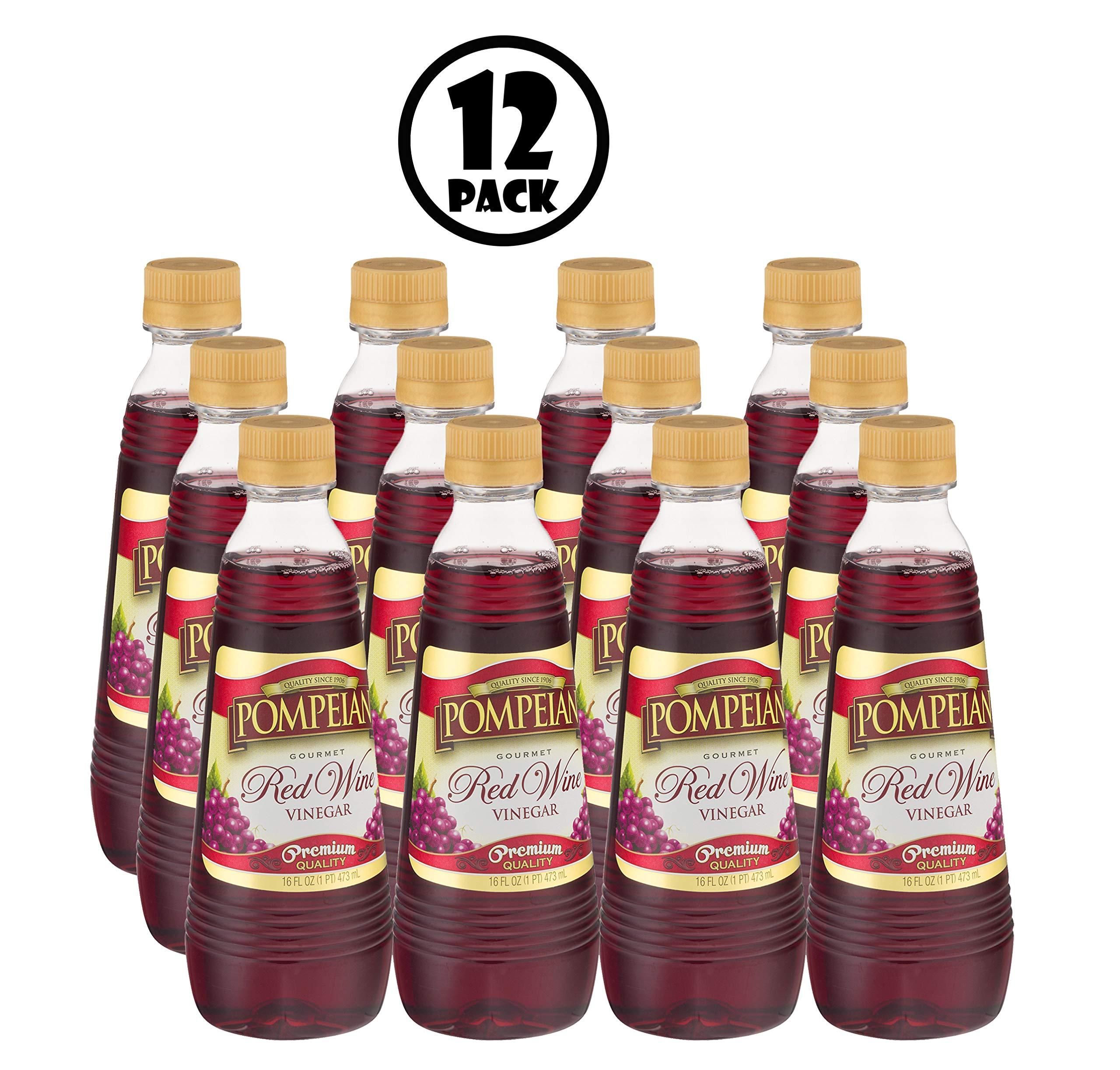 Pompeian Gourmet Red Wine Vinegar Premium Quality 16 fl oz - 12 counts by Pompeian