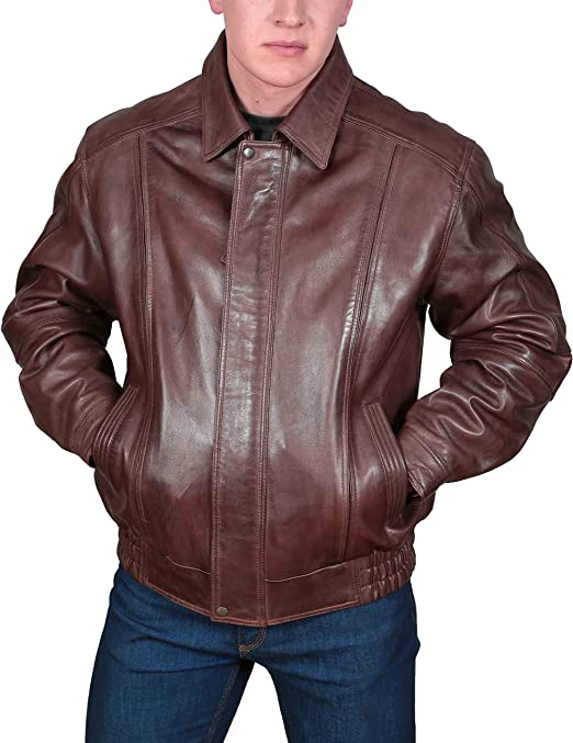Mens Soft Leather Bomber Jacket Classic Fit Casual Blouson Style Robert Black