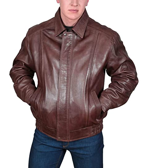 fc9459f35 Mens Leather Bomber Jacket Classic Fit Soft Zip Up Blouson Style Jim ...