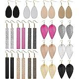 Yadoca Leather Earrings For Women Leaf Earring Teardrop Petal Antique Dangle Earring Sets Lightweight Handmade Birthday/Valen