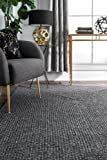nuLOOM Lefebvre Braided Indoor/Outdoor Rug, 4' x 6' Oval, Charcoal