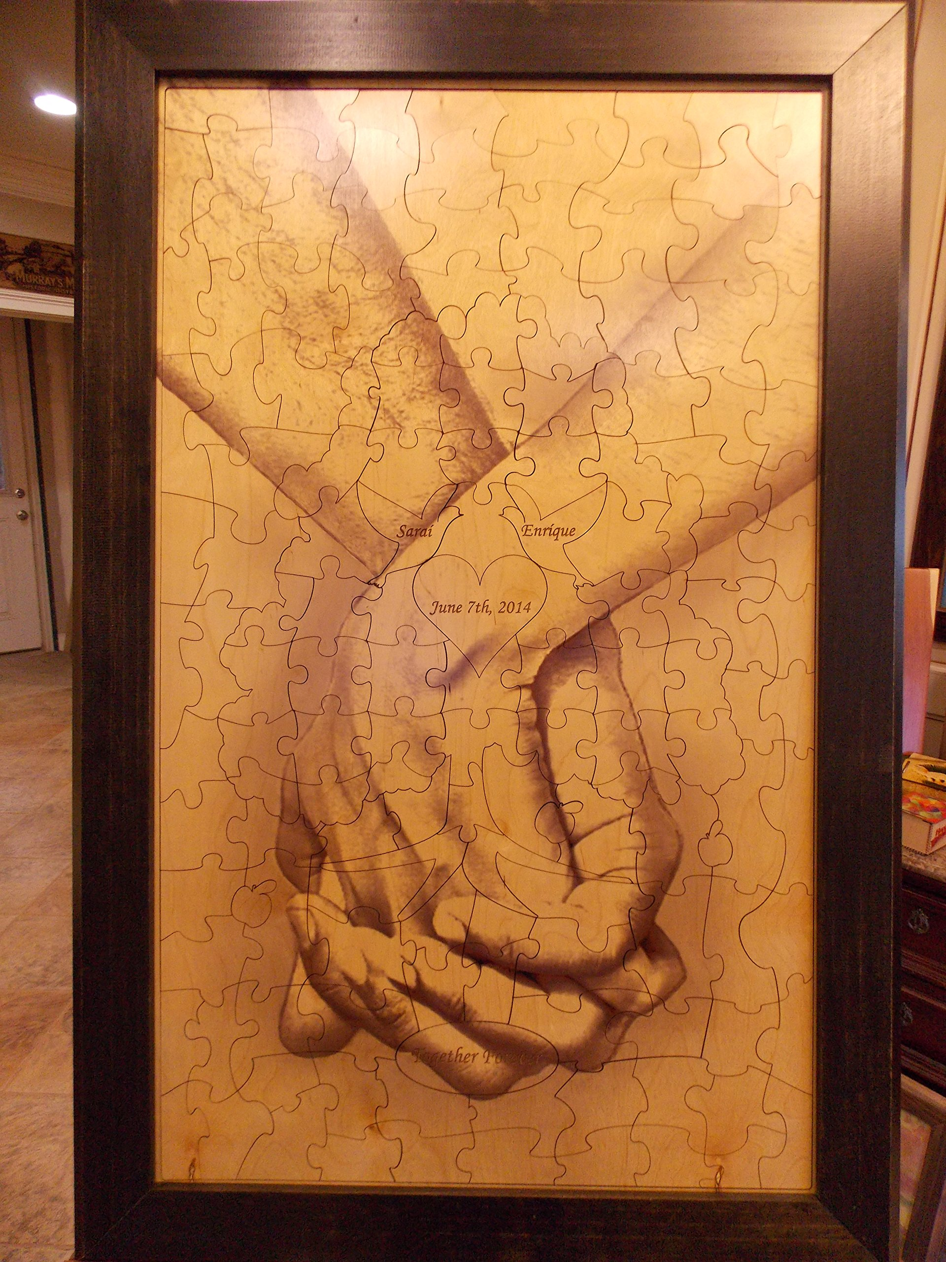 Wedding Guest Book Alternative Wood Puzzle ''Together Forever Tree Hand In Hand'' 24x38 Large 151 Piece by Together Forever Puzzle