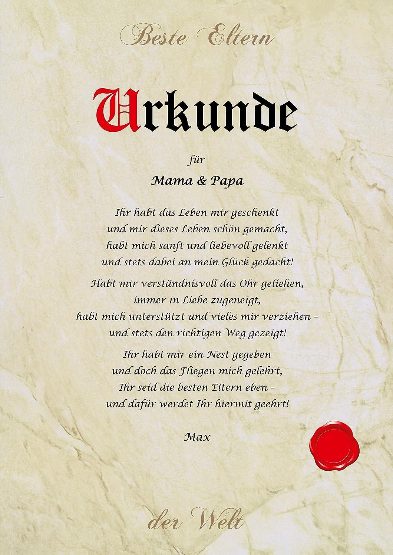 Urkunde personalisiert Geschenk Karte beste Eltern Mama Papa der ...