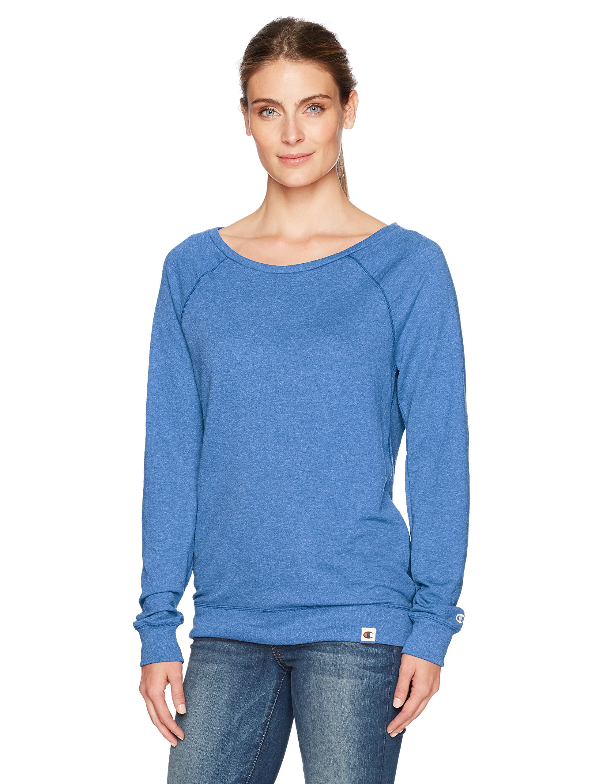 Champion Women's Authentic Originals French Terry Sweatshirt, Blue Jazz Heather, Medium