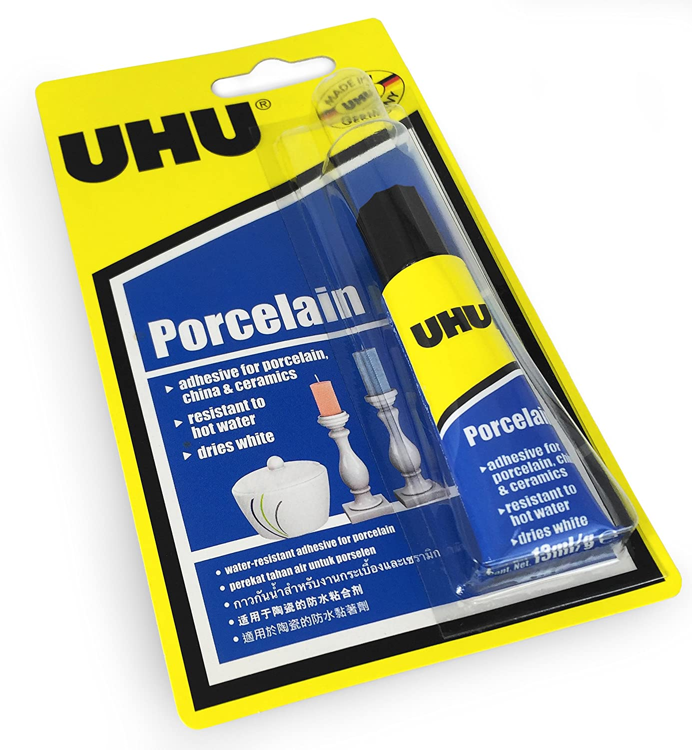 UHU Porcelain Adhesive – Dries White - Water Resistant – 4ml