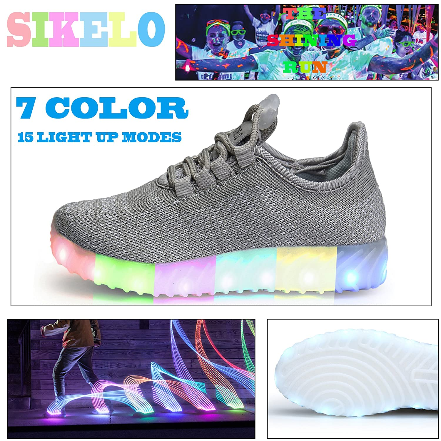SIKELO Boys Girls 22 Colors LED Light Up Running Shoes for Kids USB Flashing Sneakers SIKELO2017080948