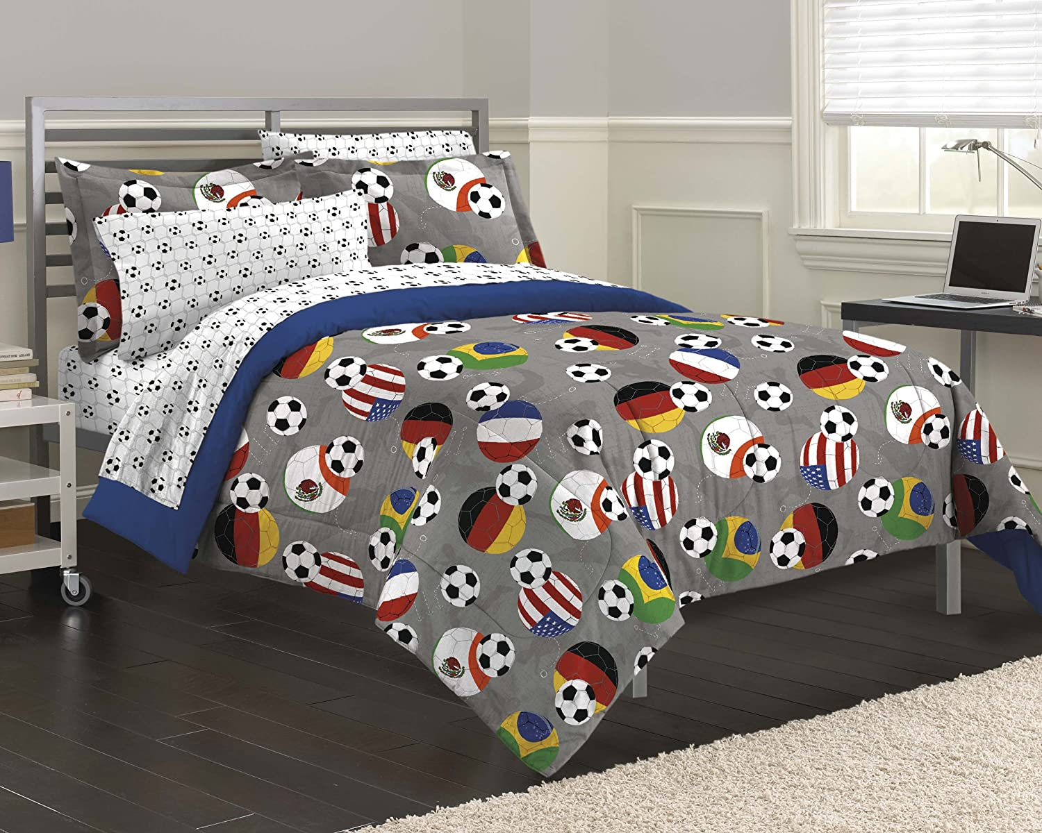 Amazoncom My Room Soccer Fever Teen Bedding Comforter Set Gray - Boys sports bedding sets twin