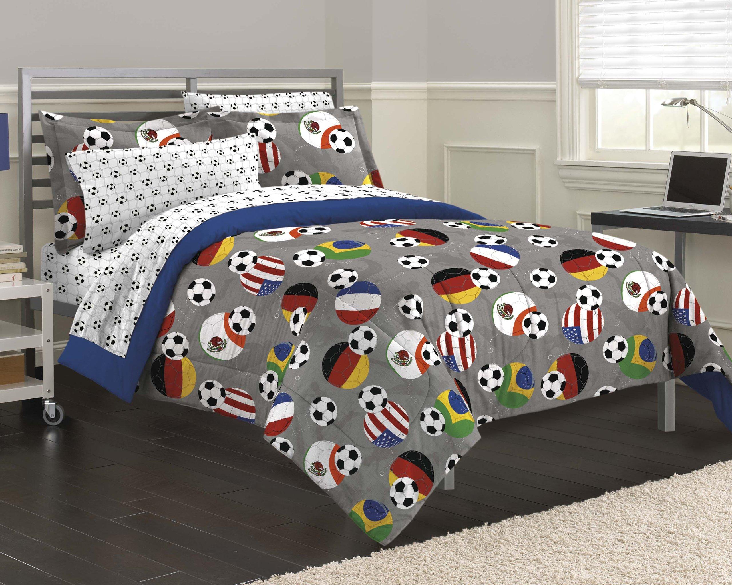 My Room Soccer Fever Teen Bedding Comforter Set, Gray, Full