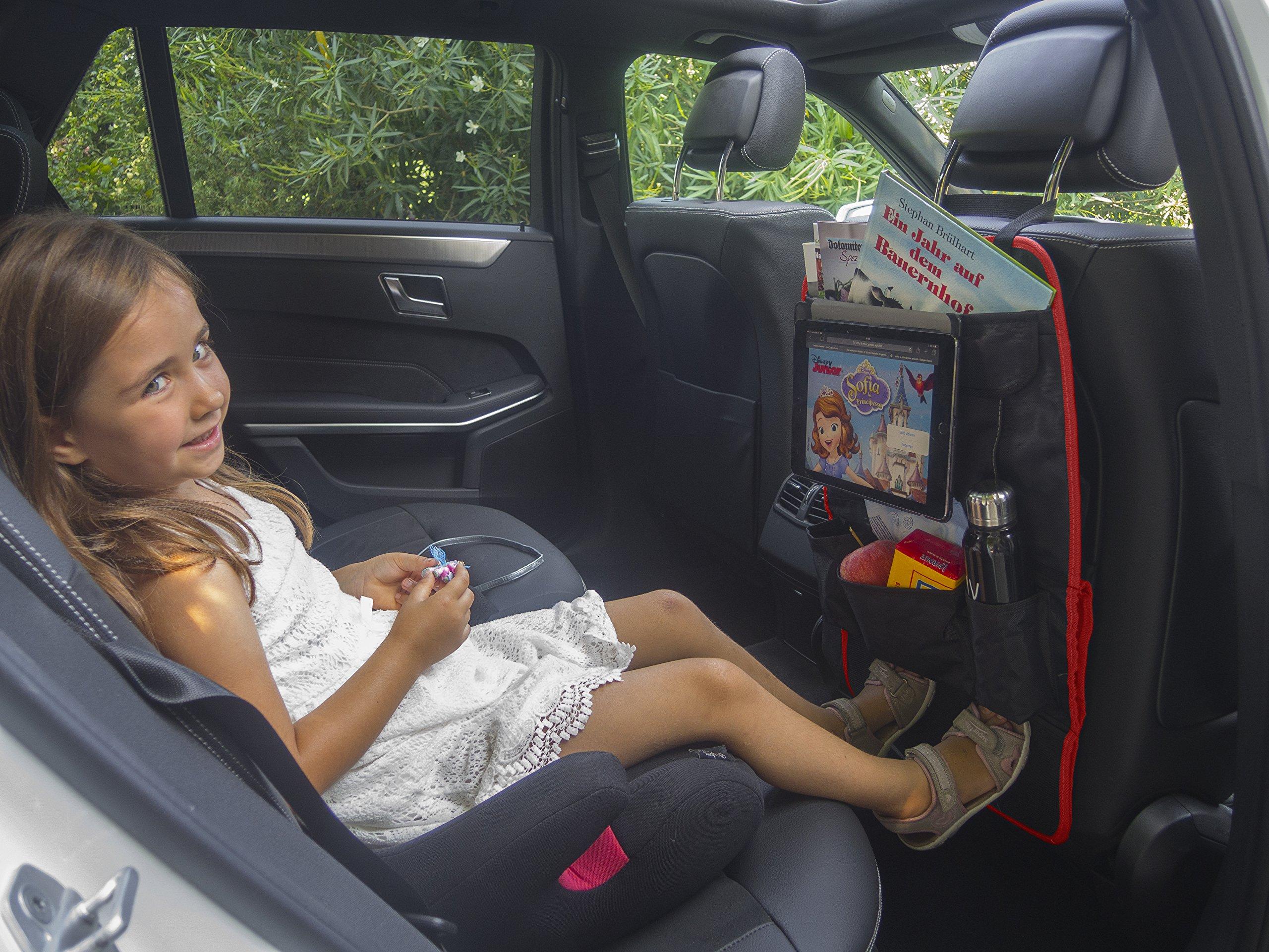 Protector asiento coche | organizador multi-bolsillos | MYCARCADDY TO GO | kick mat para ninos | evita arañazos y daños en el respaldo del asiento | con bolsillo para I-PAD tablet | NEGRO/ROJO