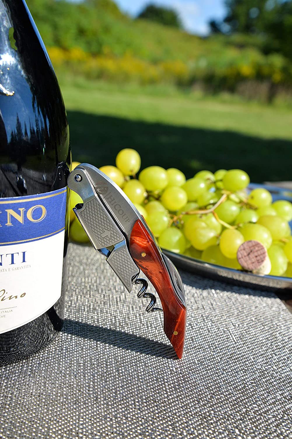 Professional Waiter/'s Corkscrew by HiCoup Waiters and Bartenders Around The World HiCoup Kitchenware HK-01-Tiger/'s Eye Tiger/'s Eye Resin Handle All-in-one Corkscrew Bottle Opener and Foil Cutter The Favored Choice of Sommeliers