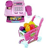Toyshine Supermarket Shopping Cash Register Play Set, with Shopping Cart Barcode Scanner, Pink